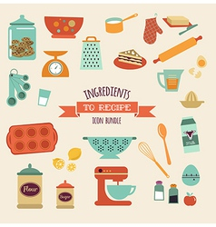 recipe and kitchen design icon set vector image vector image