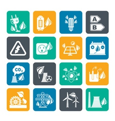 Silhouette Green energy and environment icons vector image vector image