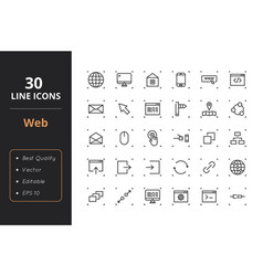 30 web line icons vector image vector image