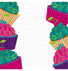 Background of psychedelic cupcakes on white backgr vector