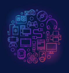 colorful gadgets and devices vector image