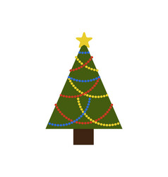 evergreen christmas tree with colorful garlands vector image vector image