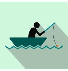Fisherman in a boat flat icon vector