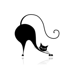 Funny big cat silhouette for your design vector image