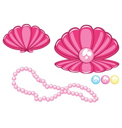 marine clam with a pearl vector image