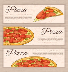 set of hand drawn fast food banners with pizza vector image vector image