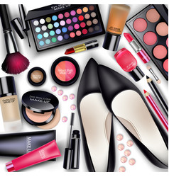 sets of cosmetics on white background vector image