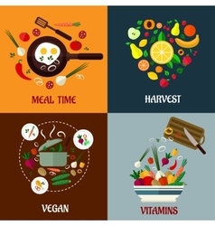 Colorful flat food poster designs vector image