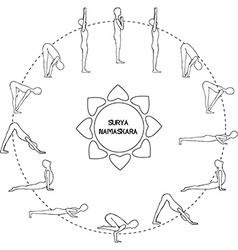 Cycle exercise in yoga sun salutation Silhouette vector image