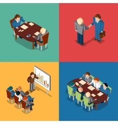 Isometric 3D business people icons Meeting job vector image vector image