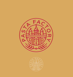 pasta factory logo italian building spikelet vector image vector image