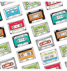 seamless pattern plastic cassette audio tape vector image