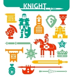 Set Of Monochrome Icons Knight vector image