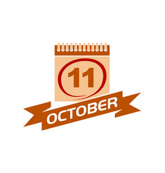 11 october calendar with ribbon vector