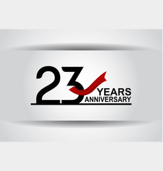 23 years anniversary design with red ribbon vector