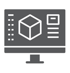 3d design glyph icon model and computer 3d vector