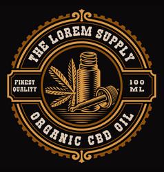 A vintage cannabis label vector