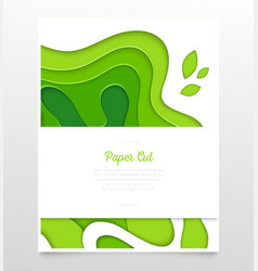 abstract green layout - paper cut banner vector image