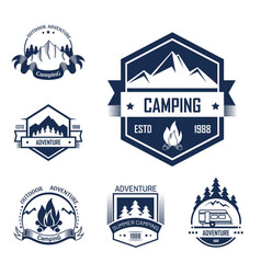 Adventure summer outdoor camping isolated labels vector