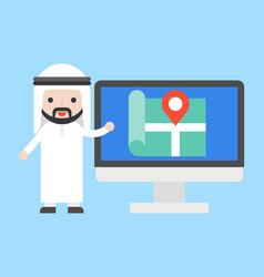 arab businessman show location on computer screen vector image