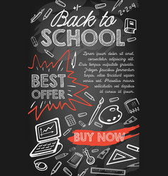 back to school sale offer or discount promo banner vector image