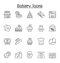 bakery icons set in thin line style vector image