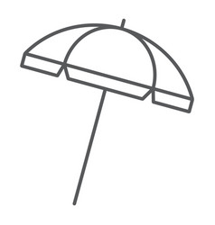 Beach umbrella thin line icon travel and parasol vector