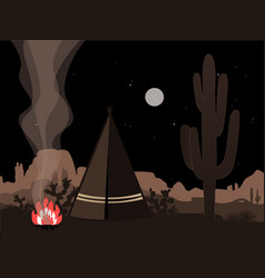 Beautiful amd mystic with indian tepee fire and vector