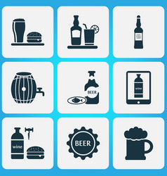 beverages icons set with lunch tequila beer and vector image