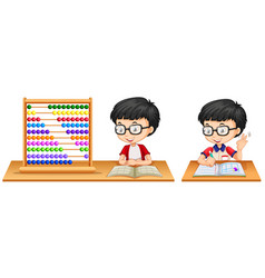 Boy studying math using abacus vector