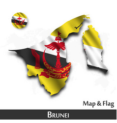 brunei map and flag waving textile design dot vector image