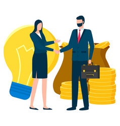Business partners man and woman dealing people vector