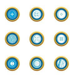 Button on clothes icons set flat style vector