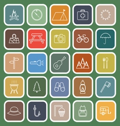 Camping line flat icons on green background vector