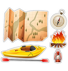Camping sticker set with canoe and map vector image