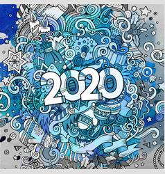 cartoon cute doodles hand drawn 2020 year vector image
