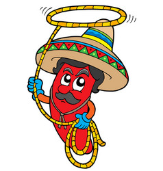 cartoon mexican chilli with lasso vector image