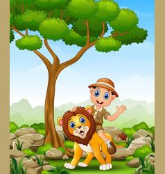 Cartoon zoo keeper man in jungle vector