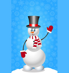christmas and new year card with snowman in vector image