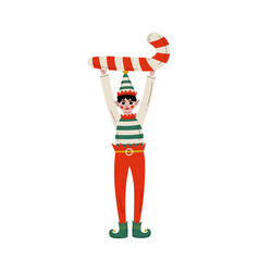 christmas elf character holding candy cane cute vector image