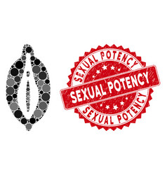 Collage female genitals icon with distress sexual vector