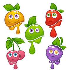 Collection of fresh funny cartoon fruits and vector