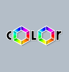 color lettering with colorful radial gradient vector image