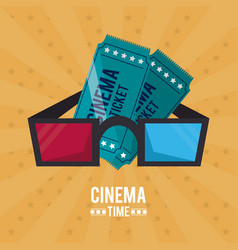 Colorful poster of cinema time with tickets and 3d vector