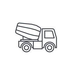 concrete mixing truck thin line icon linear vector image