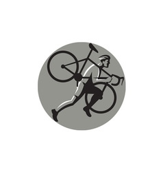 Cyclocross Athlete Carrying Bicycle Circle Retro vector