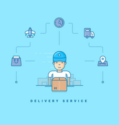 Delivery service cartoon character packing boxes vector