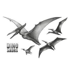 Dinosaur in stippling technique vector