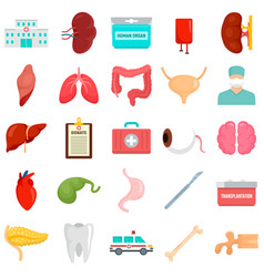 Donate organs icons set flat style vector