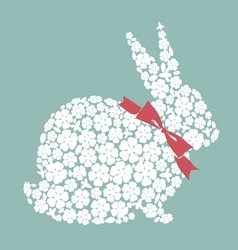 Easter design with bunny from flowers vector image
